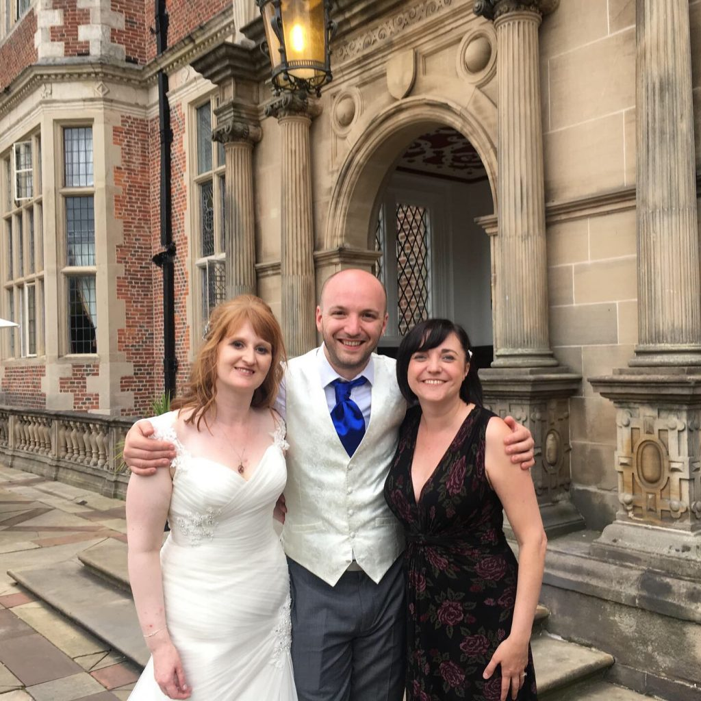 The happy couple with Liz Hendry at Crewe Hall in Cheshire